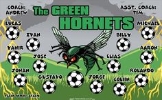 Green Hornets digitally printed vinyl Soccer sports team banner. Made in the USA and shipped fast by Banners USA. http://www.bannersusa.com/art/templates_2/digital/banners/VBS_BB_banners.php
