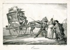 A coucou was a type of carriage - described as a cross between a sedan chair and a wheelbarrow! Drawn by an old fatigued horse and guided by its equally fatigued master, the box cart was for the French poor and many travelers were packed in tight.