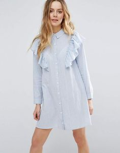 #Asos is really speaking my style language lately.  Influence Ruffle Shoulder Shirt Dress