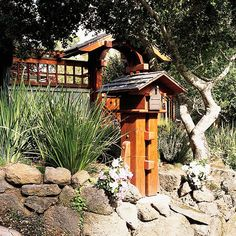 Curb Appeal In a Day: Do a mailbox makeover. Mailboxes should complement the home and express the homeowner's personality. When choosing Craftsman Mailboxes, Cool Mailboxes, Mailbox Makeover, House Trim, Wooden Posts, Asian Home Decor, Building Structure, Outdoor Living, Houses