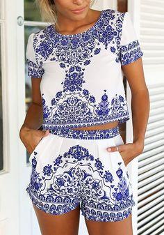 Porcelain Print Shorts Co-Ord Set