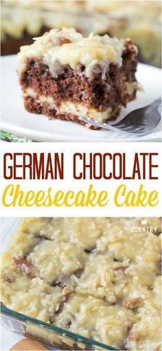 German Chocolate Cheesecake Cake recipe from The Country Cook (Cherry Dessert Recipes) Food Cakes, Cupcake Cakes, Cake Cookies, German Chocolate Cheesecake, German Chocolate Cakes, Best German Chocolate Cake Recipe Ever, German Apple Cake, Just Desserts, Dessert Recipes