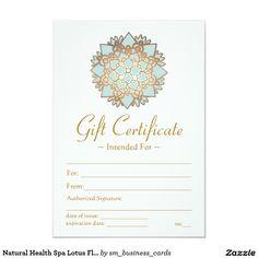 Natural Health Spa Lotus Flower Gift Certificate Card