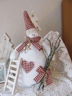 Süßer Schneemann Tilda shabby Landhaus - Stil nordisch Herbst Winter Weihnachten