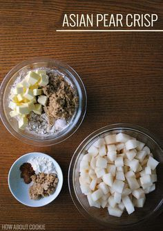 I may never go back to apples again. Asian pear crisp recipe using the usual crisp ingredients, but with diced Asian pear. Bakery Recipes, Fruit Recipes, Apple Recipes, Sweet Recipes, Dessert Recipes, Cooking Recipes, Sweet Desserts, Delicious Desserts, Yummy Food