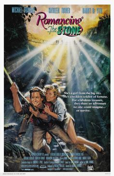 Romancing the Stone Directed by Robert Zemeckis. With Michael Douglas, Kathleen Turner, Danny DeVito, Zack Norman. A romance writer sets off to Colombia to ransom her kidnapped sister, and soon finds herself in the middle of a dangerous adventure. Danny Devito, 80s Movies, Great Movies, Movie Tv, 1984 Movie, Action Movies, 1980s Films, Indie Movies, Comedy Movies