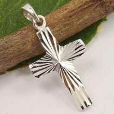 925 Sterling Silver Jewelry PLAIN No Stone Christian Cross Design Charm Pendant #Unbranded #Pendant