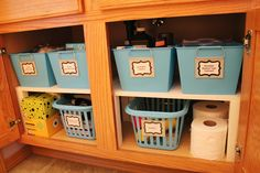Organizing Bathroom Cabinet with DIY shelves