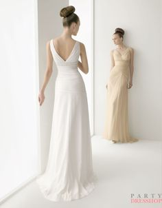 A-line off-the-shoulder v-neck soft chiffon white/champagne Bridesmaid Dresses  2012  BDMS0029  $248.00 (USD)