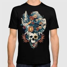 American Apparel T-shirts are made with 100% fine jersey cotton combed for softness and comfort. (Athletic Grey and Athletic Blue contain 50% polyester / 25% cotton / 25% rayon) #skull #tshirt