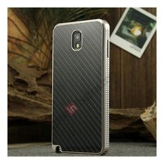 Aluminium Metal Bumper and Carbon fiber Protective back Case For Samsung Galaxy Note 3 N9000 - Champagne/Black US$25.99