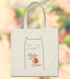 Bag for Bridesmaid Cat lovers Custom Text Cotton 15.75 x 15.25