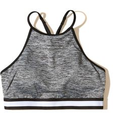 Hollister Strappy High-Neck Sports Bra (520 INR) ❤ liked on Polyvore featuring activewear, sports bras, underwear, heather grey, strappy sports bra, high neckline sports bra and high neck sports bra