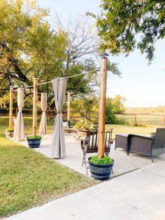 Outdoor Privacy, Outdoor Curtains For Patio, Diy Patio, Outdoor Patio Lighting, Privacy Ideas For Backyard, Outdoor Patio Decorating, Outdoor Decorations, Patio Ideas, Outdoor Ideas