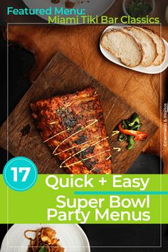 Here are Quick and Easy Super Bowl Party Menus so you can throw a stress-free Superbowl party that everyone including you will enjoy. 300 Calorie Meals, Low Calorie Recipes, Thanksgiving Desserts Easy, Great Desserts, Dog Recipes, Easy Recipes, Super Bowl Menu, Steak Au Poivre, Tailgating Recipes