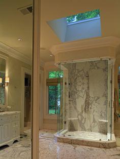 Bright Marbled Bathroom Skylight Window Ironhorse Farm House www.decorteen.com