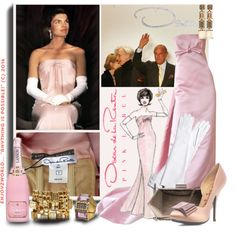 """New Contest: ""Ode to Oscar de la Renta"" Oscar & Jackie"" by enjoyzworld on Polyvore"
