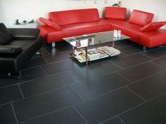 imitatie leistenen vloer antraciet 45x90, van deze vloertegels ligt een voorbeeld vloer in onze showroom, Tegelhuys