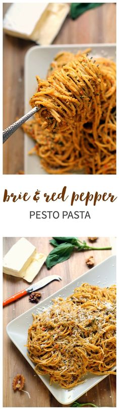 An easy homemade red pepper pesto recipe, with a little something extra! The addition of brie makes this sauce super creamy. Simply stir into cooked pasta, or it would make a great base for a gooey, hearty pasta bake. Scrumptious! via @ciaoveggie