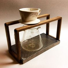 Drip-U coffee dripper stand is designed for whom loves handmade coffee. handmade, selected wood with old crafted carpenter. Coffee Pour Over Stand, Coffee Stands, Coffee Shop Equipment, Brewing Equipment, Drip Coffee, My Coffee, Design Industrial, Coffee Dripper, Coffee Carts