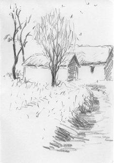 Landscape Pencil Drawings, Landscape Sketch, Pencil Art Drawings, Landscape Art, Drawing Sketches, Sketching, Architecture Sketchbook, Art Sketchbook, Figure Painting