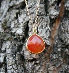 Tangerine Carnelian Drop Necklace by WafflesandHoney on Etsy, $42.00