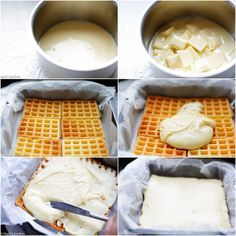 Cut them up in pieces total) and put them in the freezer. Whenever I wanted one, just take them out. No Bake Desserts, Delicious Desserts, Yummy Food, Baking Recipes, Cake Recipes, Waffles, Sweet Pie, Beignets, Desert Recipes