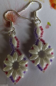 White Pink & Lilac Super Duo Beaded Earrings  with 925 Stamped Hooks