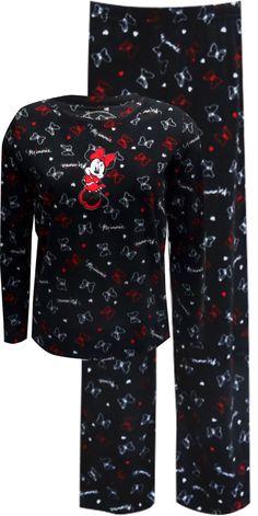 WebUndies.com Minnie Mouse Bows Black Fleece Pajama Set