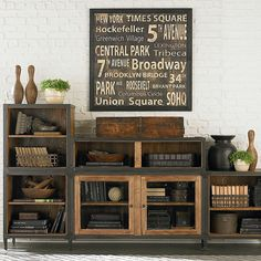 Vintage Decor Living Room Vintage industrial entertainment center or storage for playroom - Vintage Industrial Furniture, Industrial Living, Industrial Farmhouse, Industrial Style, Farmhouse Office, Industrial Design, Industrial Office, Industrial Interiors, Industrial Shelving