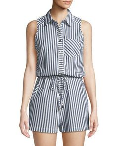 Shop Striped Cotton Shirting Romper from Dex at Neiman Marcus Last Call, where you'll save as much as on designer fashions. Casual Wear, Casual Outfits, Cute Outfits, Modest Fashion, Fashion Dresses, Vetement Fashion, Chor, Elegant Outfit, Look Chic