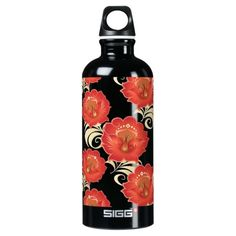Modern Large Abstract Red-Orange Flowers Bottle 2