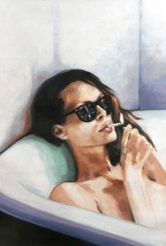 "Thomas saliot; Painting, ""The bath"" Sunglasses, cigarette and bath. My kind of wonderful."