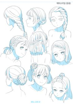 Drawing Hair Tutorial, Manga Drawing Tutorials, Anime Drawing Styles, Drawing Poses, Art Tutorials, Art Drawings Sketches Simple, Cute Drawings, Girl Hair Drawing, Pelo Anime