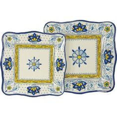 Amalfi Blue and Yellow Le Cadeaux Melamine Dinnerware, 16 Plates by Le Cadeaux. $219.99. Dishwasher safe-Triple weight, tested for durability. 8 salad and 8 dinner plates. Designs inspiOrange by French and Italian pottery, purposely crafted with a distressed look. Not Microwave safe (melamine never is). Safe enough for children. Heavy and durable special melamine, triple weight to ensure strength and resist shattering. Dishwasher safe, but not microwave safe (Melamine neve...
