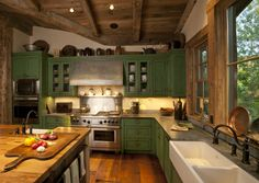 rustic kitchens on a budget | Rustic spring green kitchen | Home on the Range