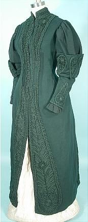 Possibly Emilie Pingat (though officially the dressmaker is unknown), ca 1890.  Likely European or American.  Walking coat.