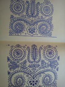 Magyar Otthon: Kalotaszegi nagyírásos Chain Stitch Embroidery, Embroidery Stitches, Embroidery Patterns, Stitch Head, Last Stitch, Hungarian Embroidery, Folk Embroidery, Soutache Pattern, Bohemian Art