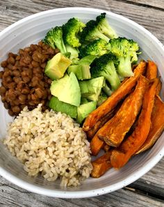 530 p m — Lentils With Rice and Veggies is part of Healthy recipes - I have a small addiction to roasted sweet potatoes (and so does my family!), which is why on this particular day, I had them for both lunch and dinner! Healthy Meal Prep, Healthy Snacks, Healthy Eating, Healthy Vegan Meals, Healthy Chicken, Vegan Lunches, Eating Raw, Recipes With Brown Rice Healthy, Healthy Tea Ideas