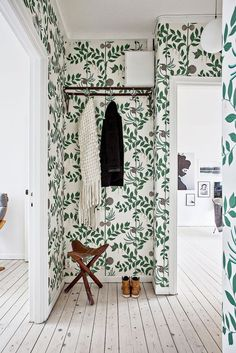 fresh green wallpapered entryway - room of the week on coco kelley