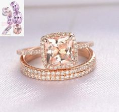 This Princess Cut Pink morganite engagement ring set,Micro pave diamond wedding rings,solid rose gold,unique split shank band is just one of the custom, handmade pieces you'll find in our engagement rings shops. Morganite Engagement, Engagement Ring Cuts, Rose Gold Engagement Ring, Vintage Engagement Rings, Morganite Bridal Set, Pink Wedding Rings, Matching Wedding Rings, Bridal Rings, Wedding Bands