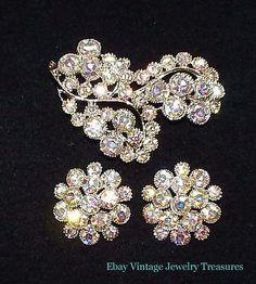 Vintage Clear Aurora Borealis Glass Rhinestone Gold Pin Earrings Set