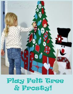 A play felt Christmas tree lets your little ones deck and undeck their personal tree as many times as they want with no breakage! (@All Things Heart and Home)