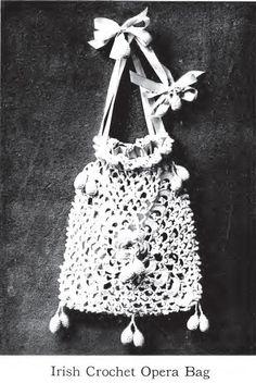 "Free pattern for this ""Vintage Irish Crochet Opera Bag""!"