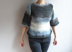 Women's Sweater Gray Sweater Crop Sweater Knit Sweater