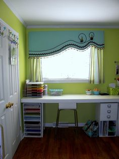 Great asymmetrical window treatment -- I don't know if I would make mine look exactly like this, but maybe it could help me solve the problem of hanging curtains on my asymmetrical windows in our living room! Window Cornices, Window Coverings, Valance Window Treatments, Unique Window Treatments, My New Room, Home Projects, Sweet Home, New Homes, House Design