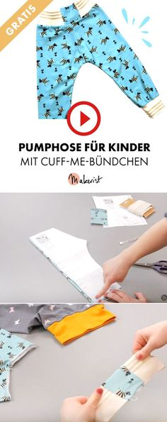 Kinderhose mit Bündchen an Overlock - Makerist auf Youtube #nähenmitmakerist #nähen #nähanleitung #schnittmuster #schnitt #pdfschnitt #pdfpattern #nähenmachtglücklich #nähenistwiezaubernkönnen #nähenisttoll #sewing #sew #sewingproject #sewingpattern #diy #diyproject #hose #kinder #pumphose #bündchen Sewing For Kids, Baby Sewing, Fashion Design Drawings, Designs To Draw, Free Knitting, Diy Clothes, Stretch Fabric, Little Ones, Diy And Crafts