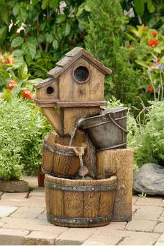 Rustic Bird House with Buckets House Outdoor Patio Garden Water Fountain Garden Fountains Outdoor, Indoor Water Fountains, Diy Water Fountain, Fountain House, Fountain Ideas, Fiberglass Resin, Outdoor Lighting, Outdoor Decor, Meteor Garden 2018