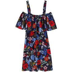 Off Shoulder Dress ($22) ❤ liked on Polyvore featuring dresses, floral dress, flower pattern dress, elastic waist dress, floral pattern dress and crepe dress