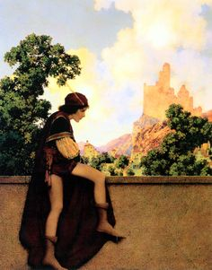 The Knave of Hearts Watching Lady Violetta Depart, from The Knave of Hearts illustrations by Maxfield Parrish